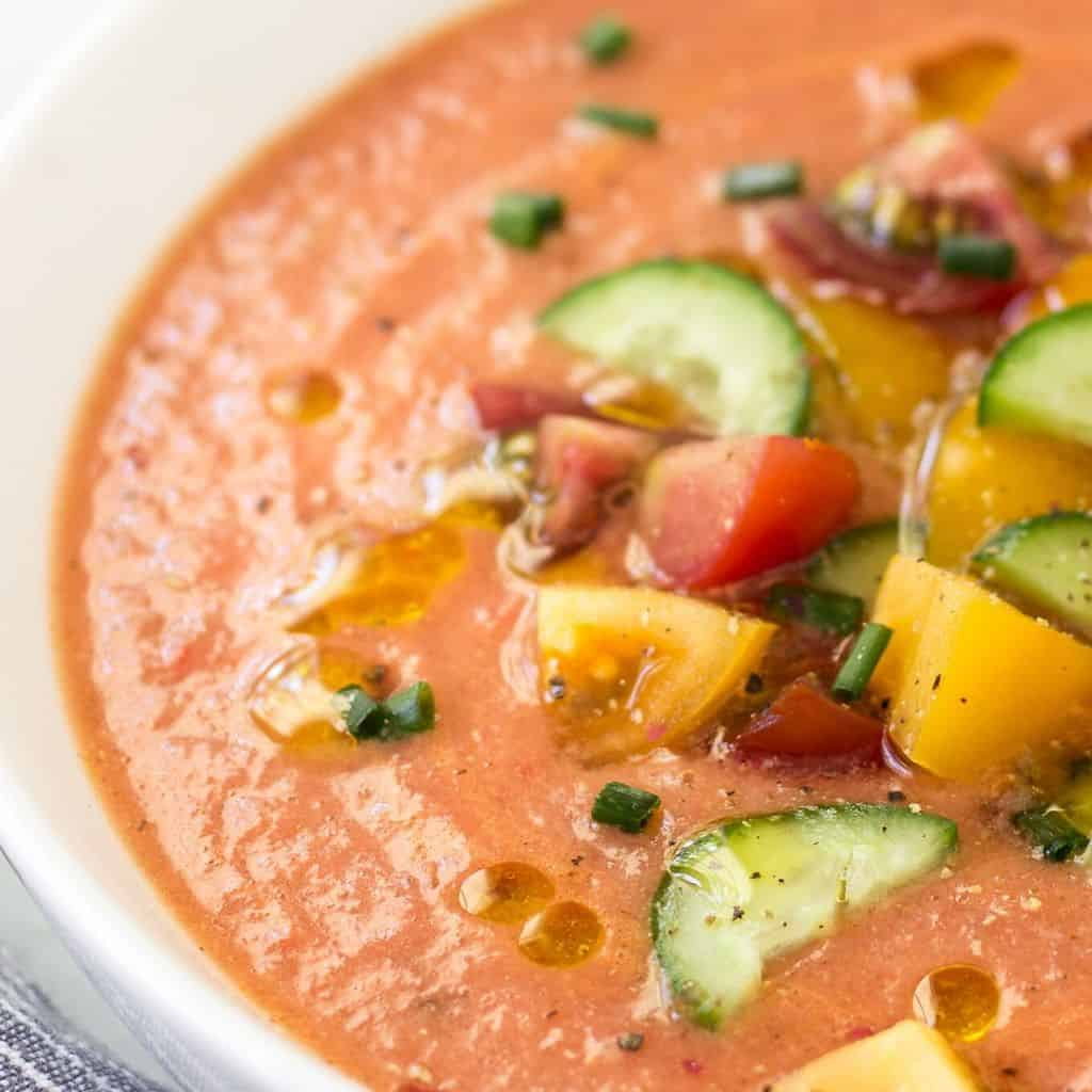 Spanish tomato soup in bowl