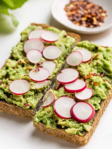 Avocado Radish toast with a sprinkling of red pepper flakes