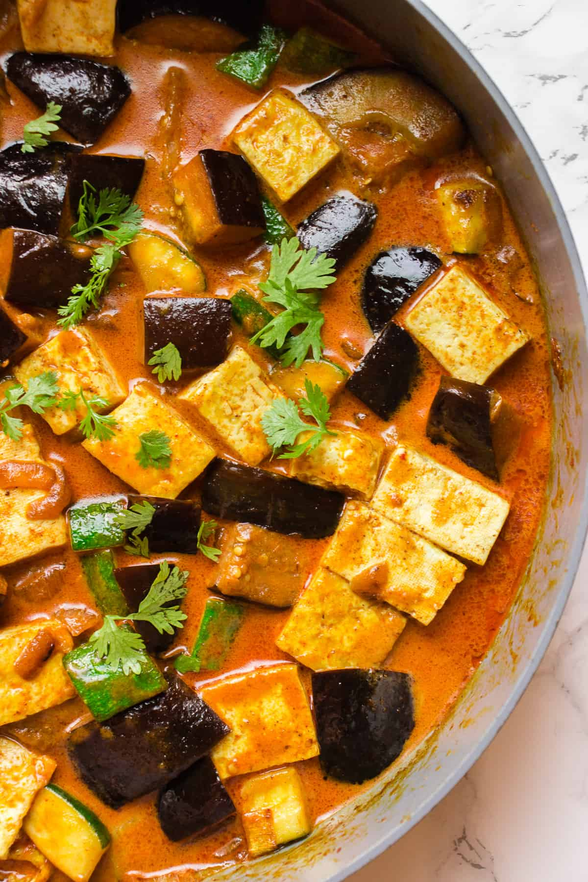Coconut Red Curry with eggplant, tofu and zucchini