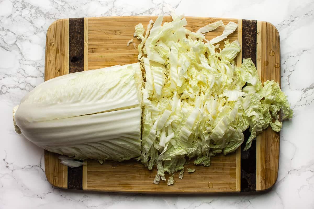 Slicing Napa Cabbage for a salad