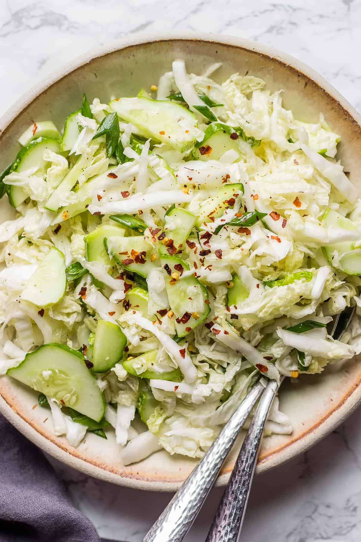 Healthy Napa Cabbage Salad in a bowl