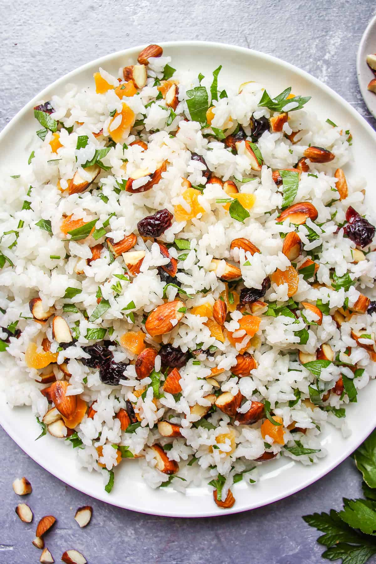 Vegan rice with dried fruit and almonds