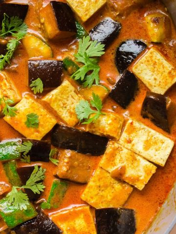 Vegan eggplant tofu coconut curry