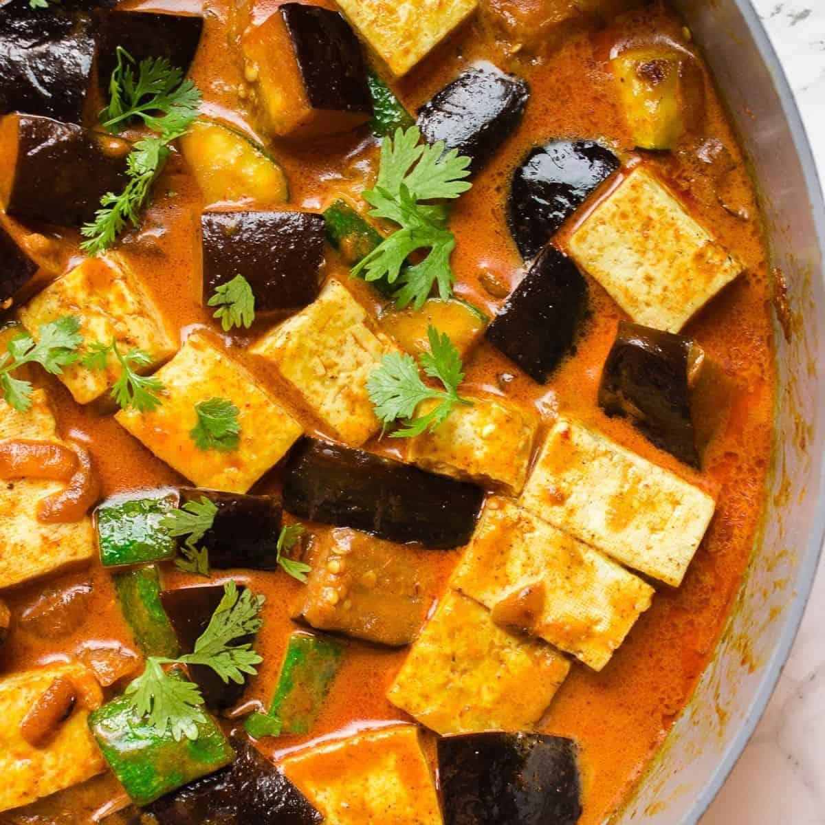 Vegan eggplant tofu coconut curry