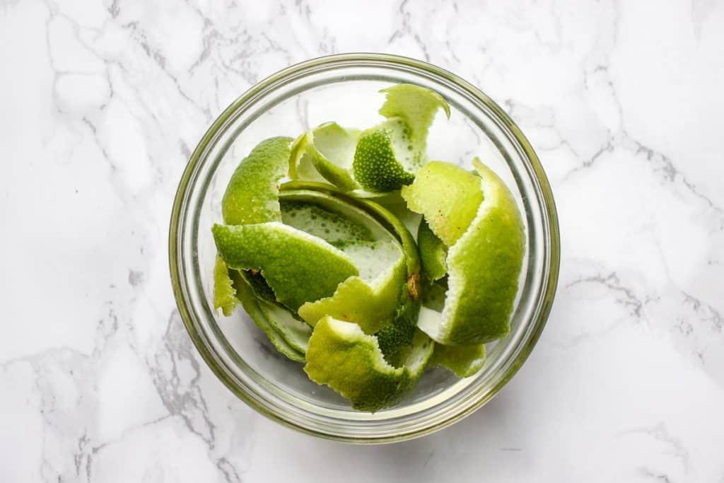 Peeled lime zest for making Posset