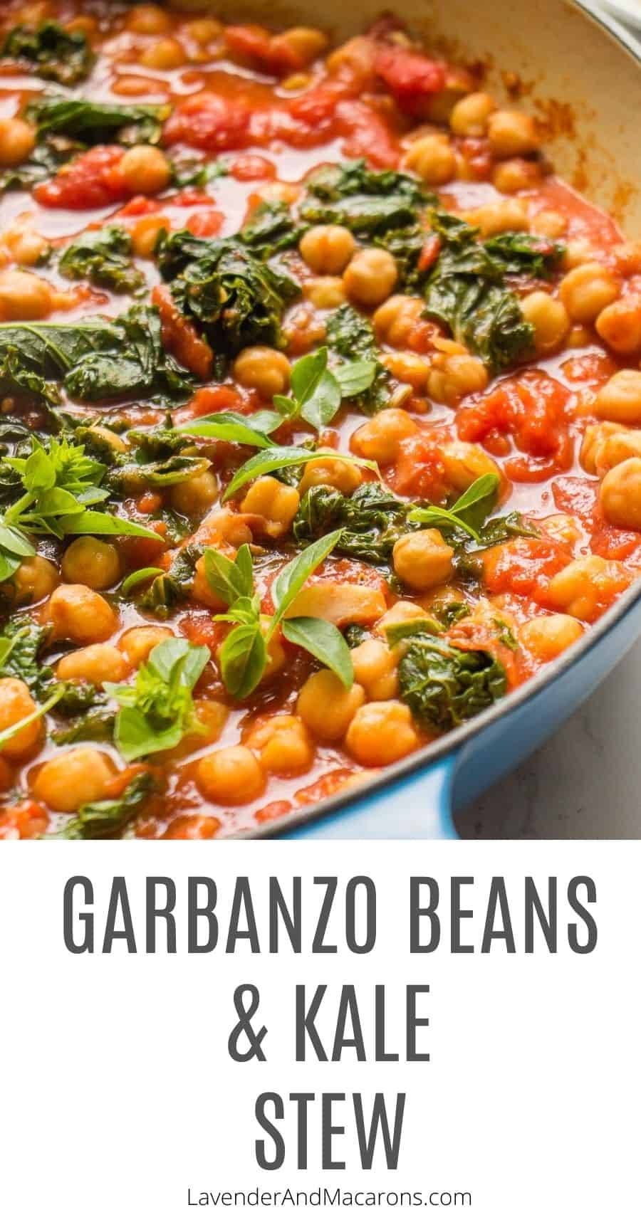 Pinterest image for garbanzo bean and kale stew