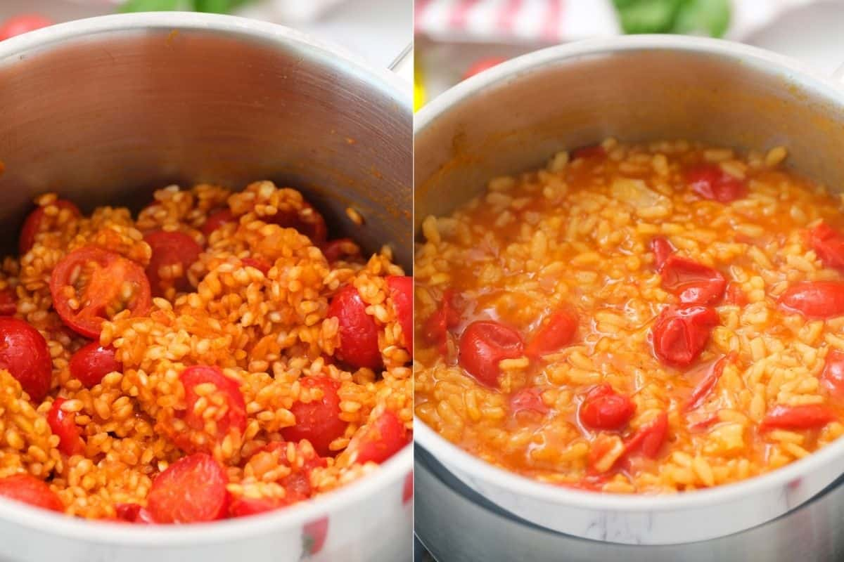 Collage photo showing how to prepare vegan risotto with tomatoes