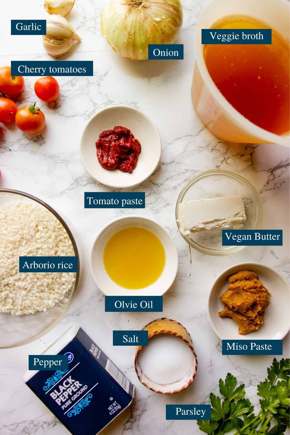 Ingredients for tomato risotto