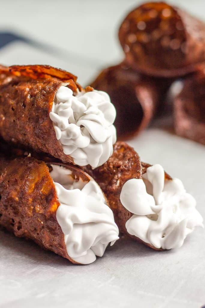 Vegan brandy snaps filled with whipped cream