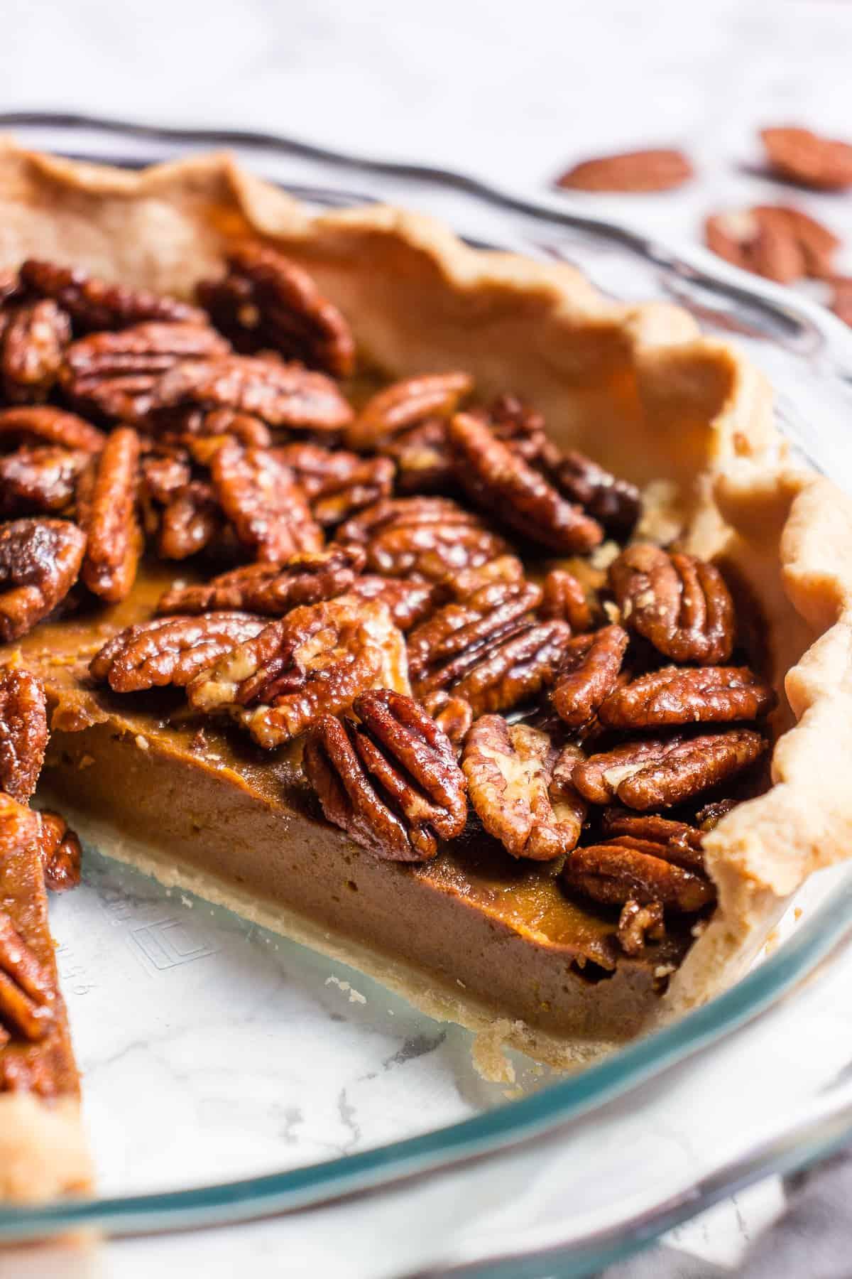 Vegan Pumpkin Pie With Caramel And Pecans