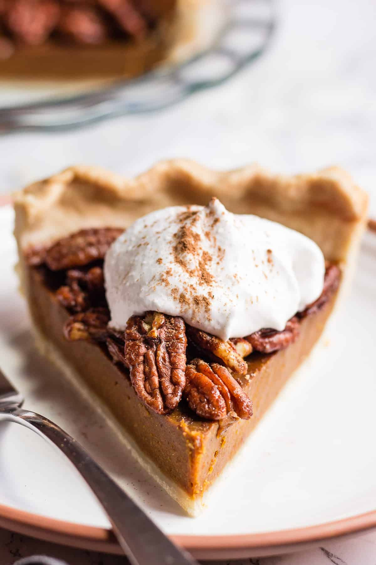 Dairy-free Pumpkin Pecan Pie with whipped coconut cream