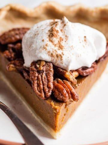 Slice of Vegan Pumpkin Pie Recipe With Pecans