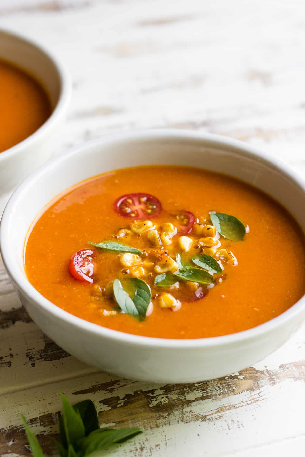 Heirloom Tomato Soup with basil and corn