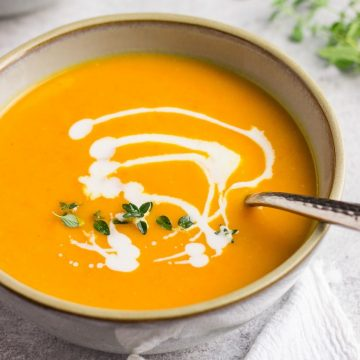 Healthy Vegan Butternut Squash Soup in a bowl