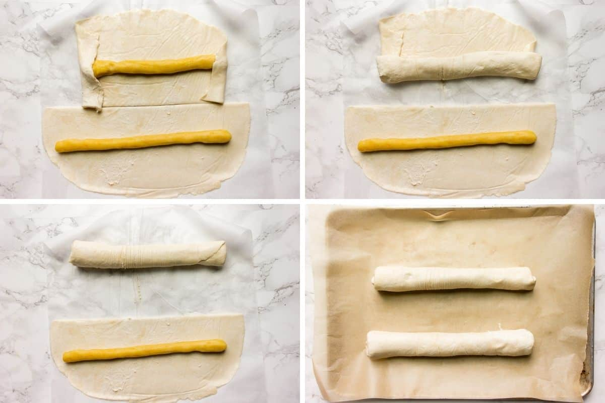 How to wrap almond paste with pastry dough