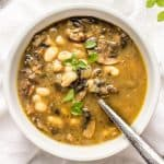 Easy vegan soup with Portobello mushrooms and white beans