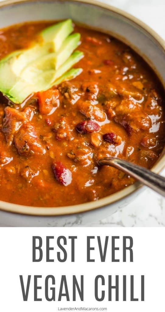 Pinterest image for best ever vegan chili