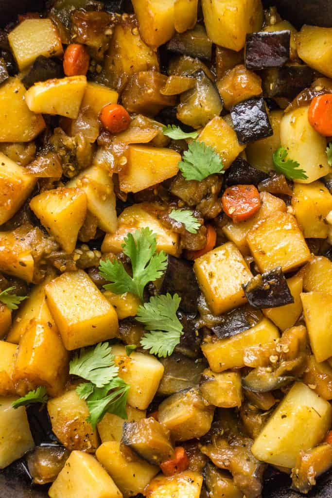Close-up of hearty vegetable stew