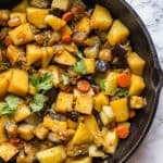 Hearty vegetable stew in a skillet