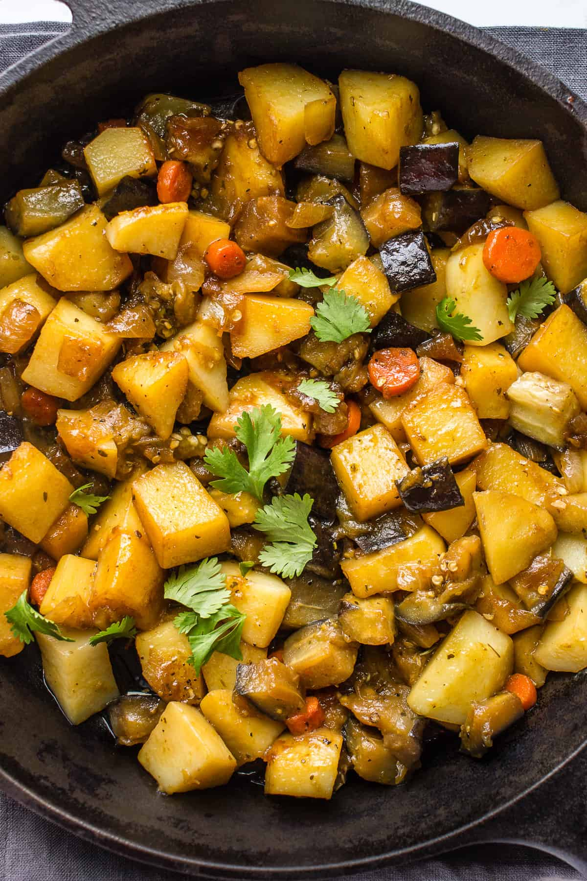 A pan on hearty vegetable stew