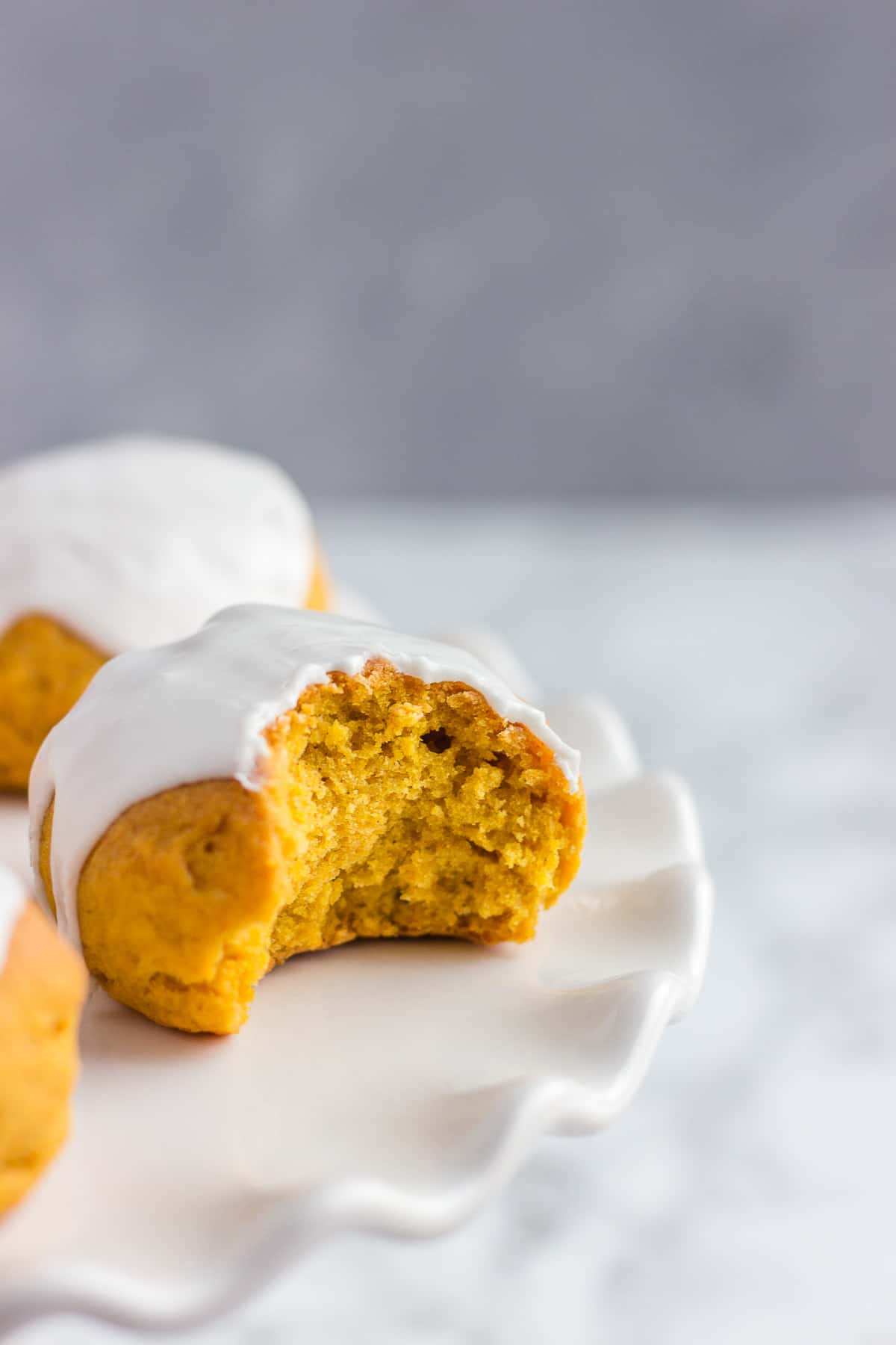Pumpkin Cookies on a cake stand