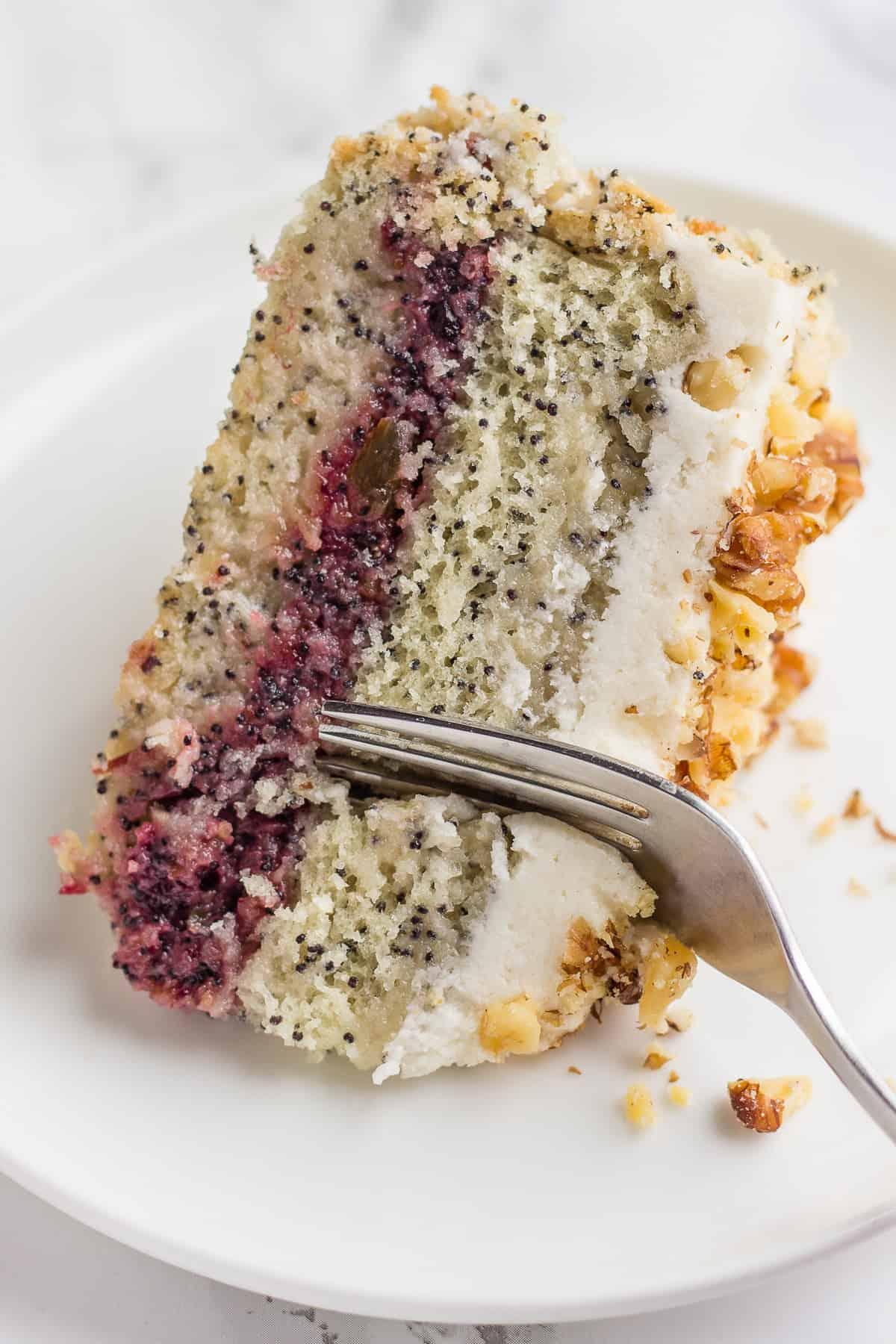Slice of Vegan Poppy Seed Cake