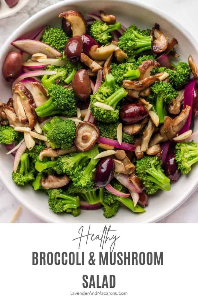 Pin image of vegan broccoli salad