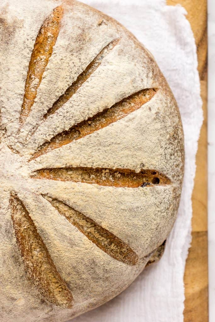 Swedish Limpa rye bread on a kitchen towel