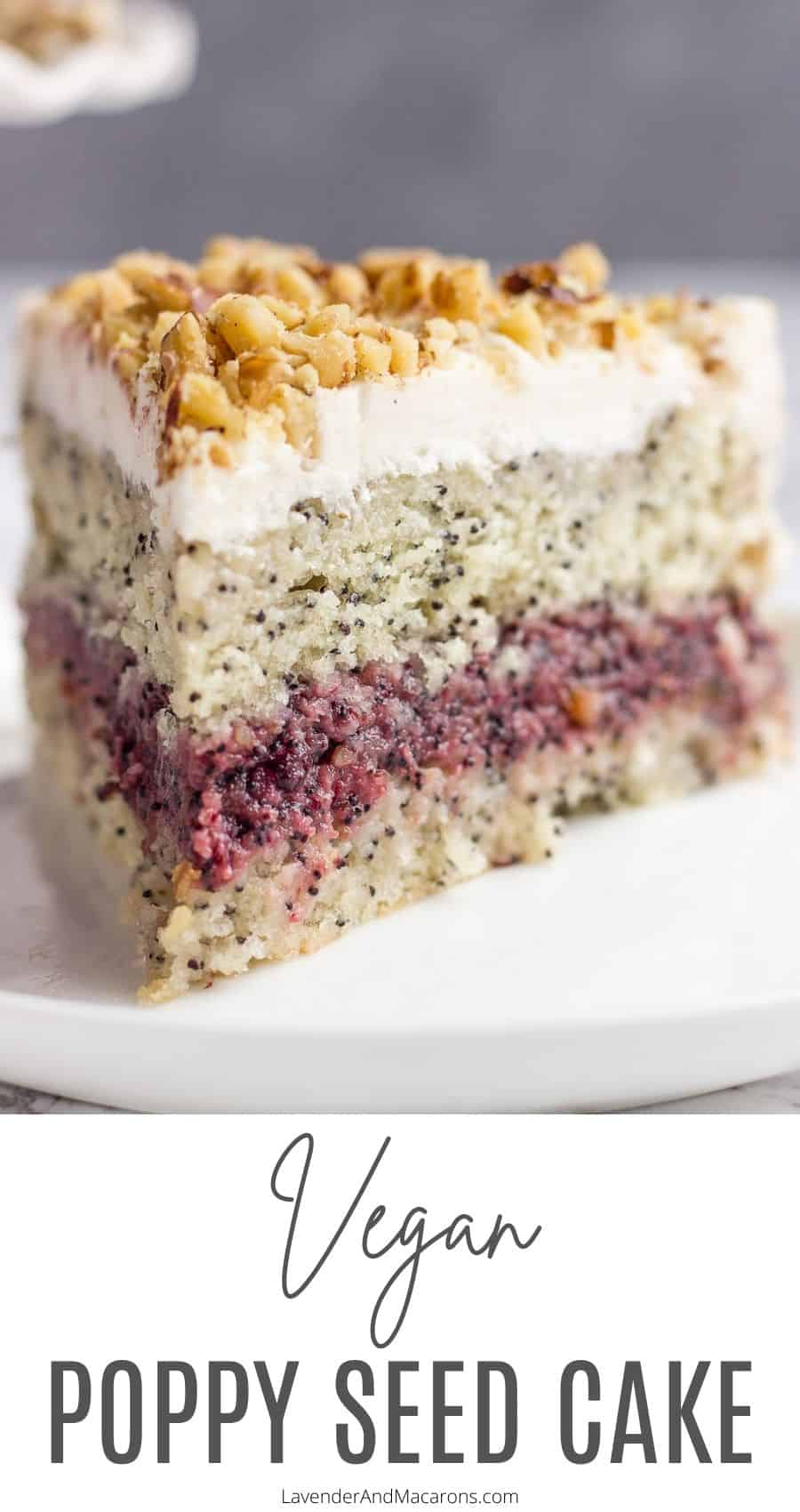 Pinterest image of healthy poppy seed cake