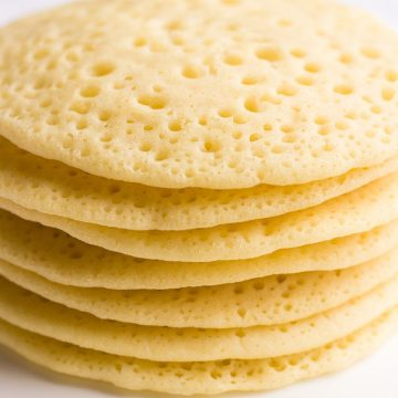 A stack of Baghrir pancakes