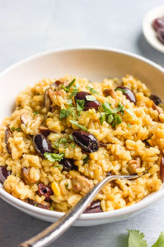 Shiitake, Olives and Pine Nuts Risotto