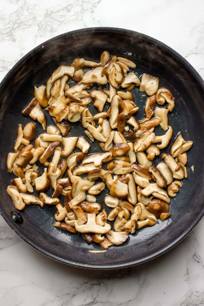 Cooking mushrooms for the risotto