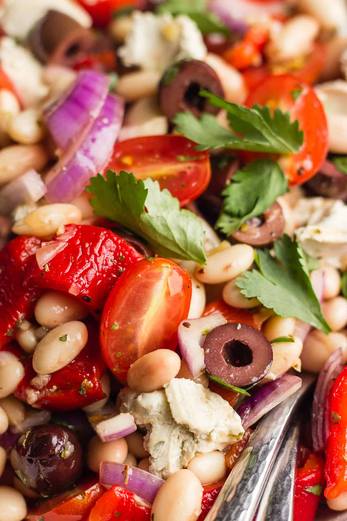 Close-up of cannellini bean salad
