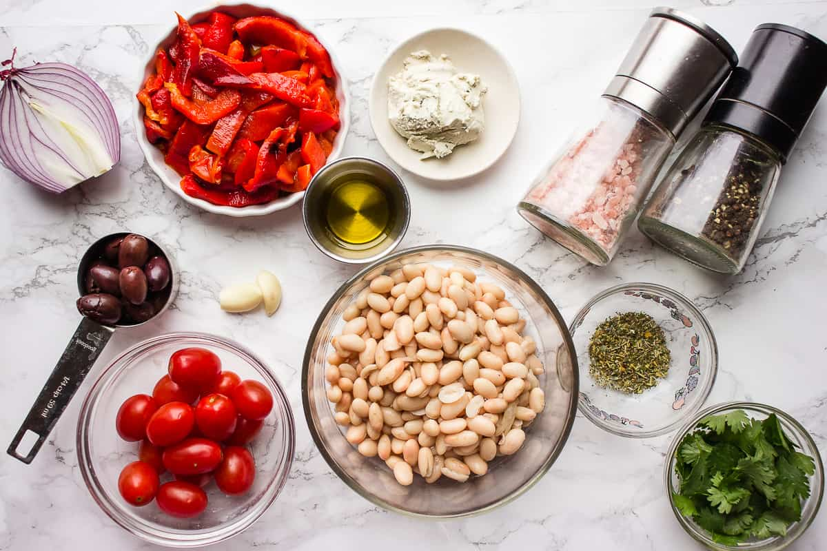 Ingredients in bowls on a counter