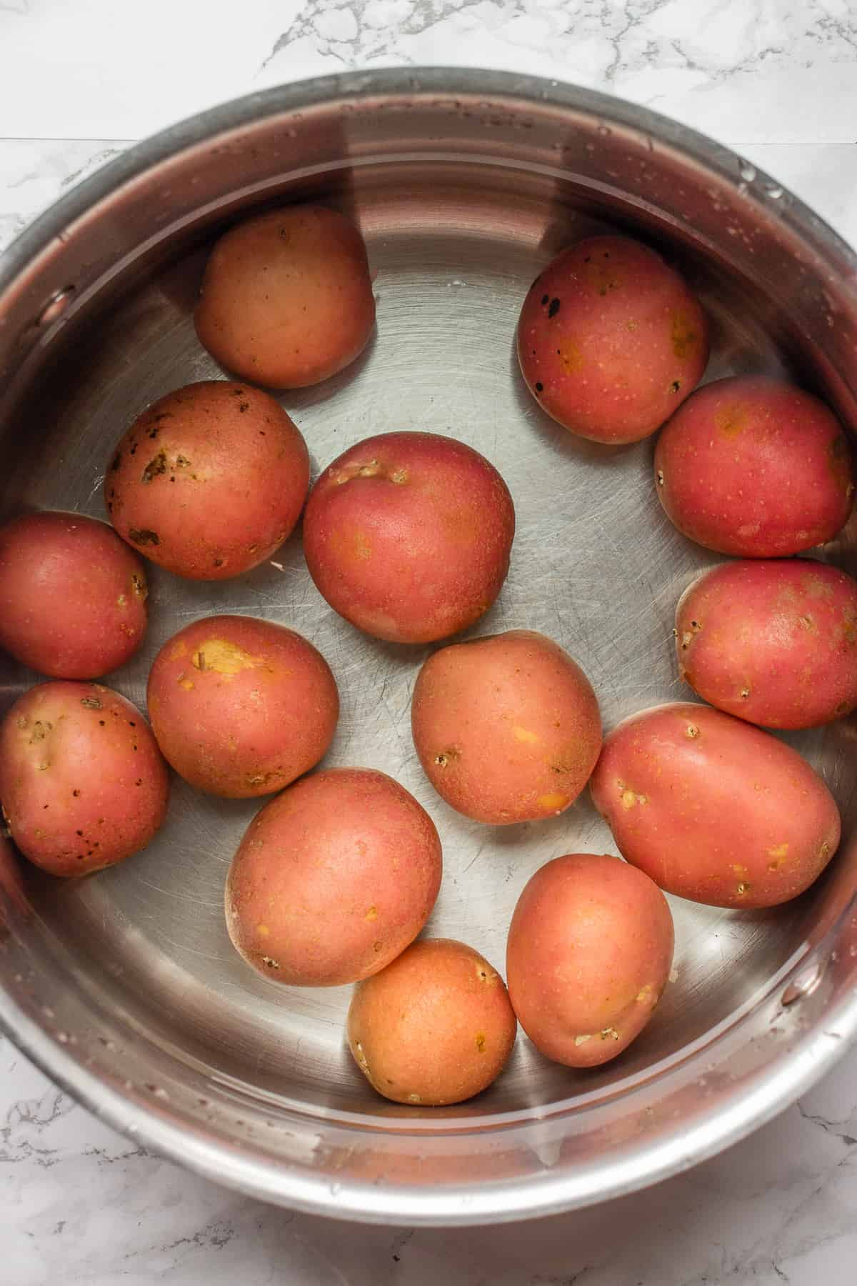 Red potatoes in a pot
