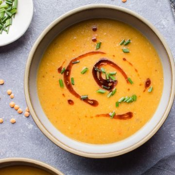 Turkish Red Lentil Soup in a bowl