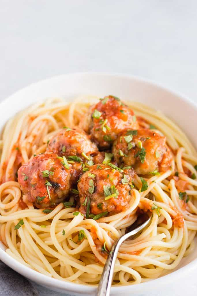 Meatless meatballs with spaghetti in a bowl