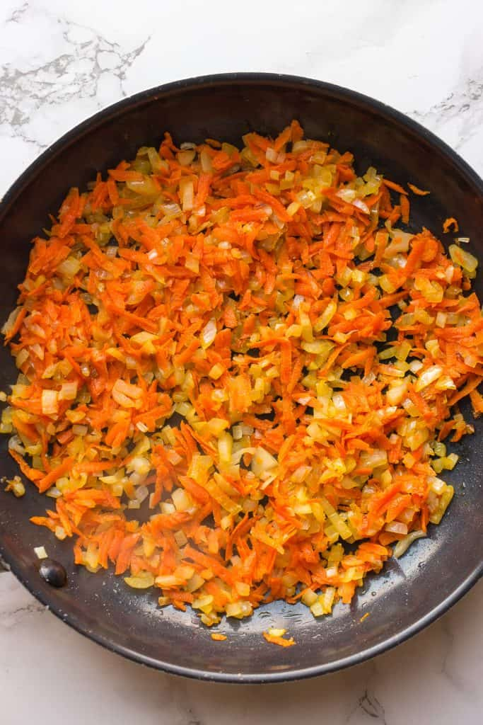 Cooking onion and carrot for the meatballs