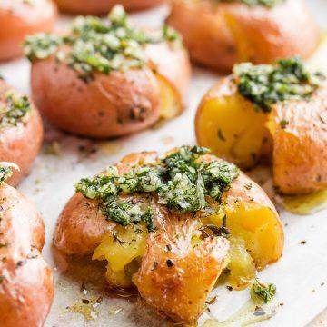 Vegan smashed potatoes with garlic dill sauce featured image