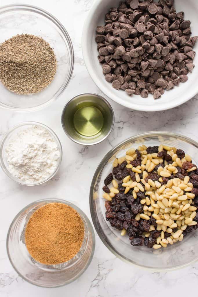 Ingredients for the dairy-free chocolate brownie cookies
