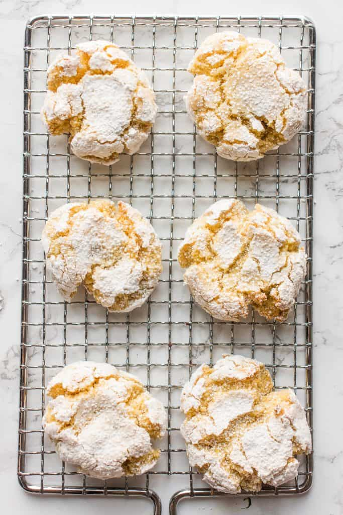 Lemon Semolina cookies on a wire rack