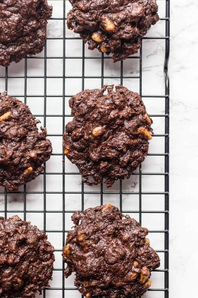 Overhead shot of vegan chocolate cookies