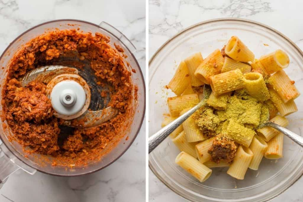Collage image of making red sauce in a blender and combining cooked Rigatoni pasta in a large glass bowl with pesto and nutritional yeast