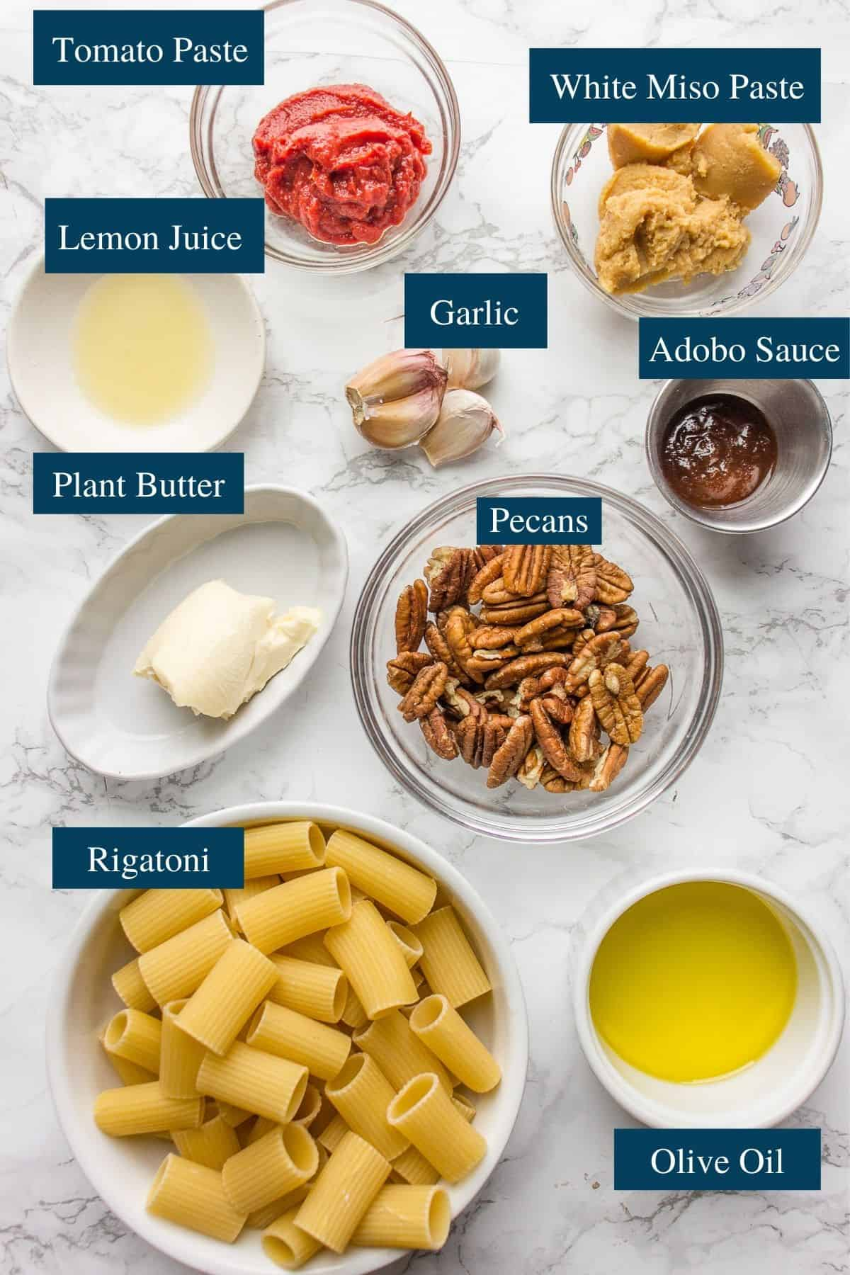 Ingredients overview for Miso pasta recipe