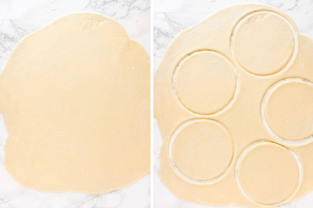 Cutting out pastry circles on white background