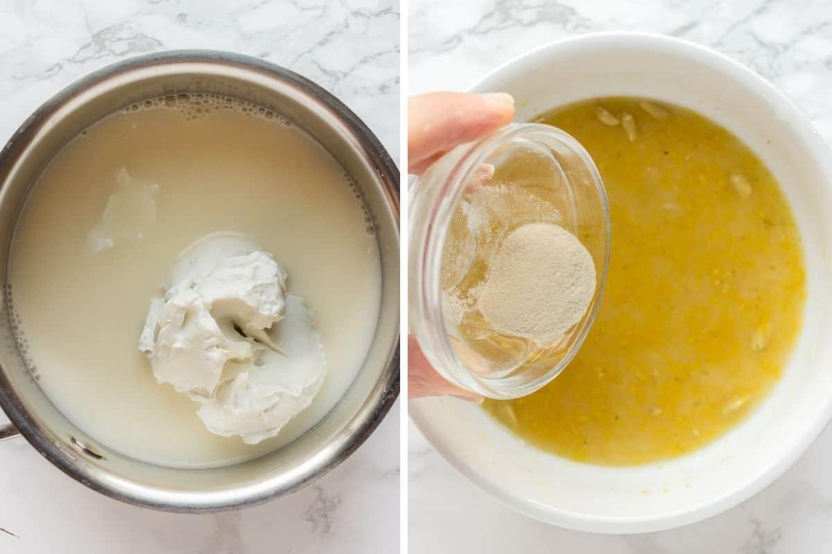 Collage image of making vegan lemon curd filling for tartlets
