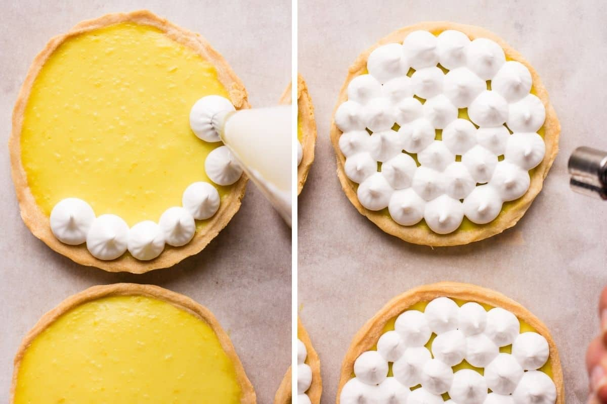 Collage pin of piping vegan meringue on tartlets and torching the tops of the meringues