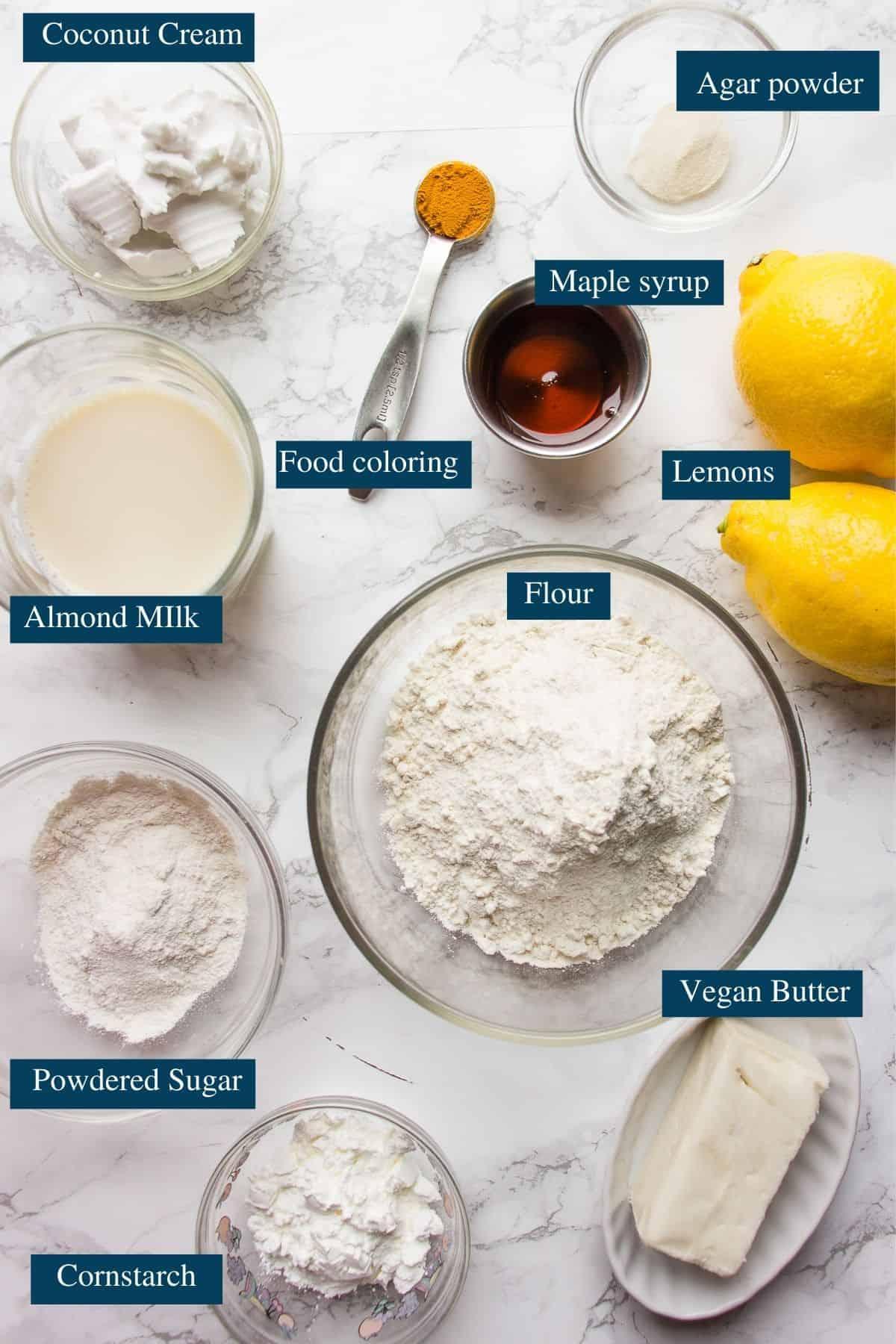 Ingredients overview for vegan lemon tartlets