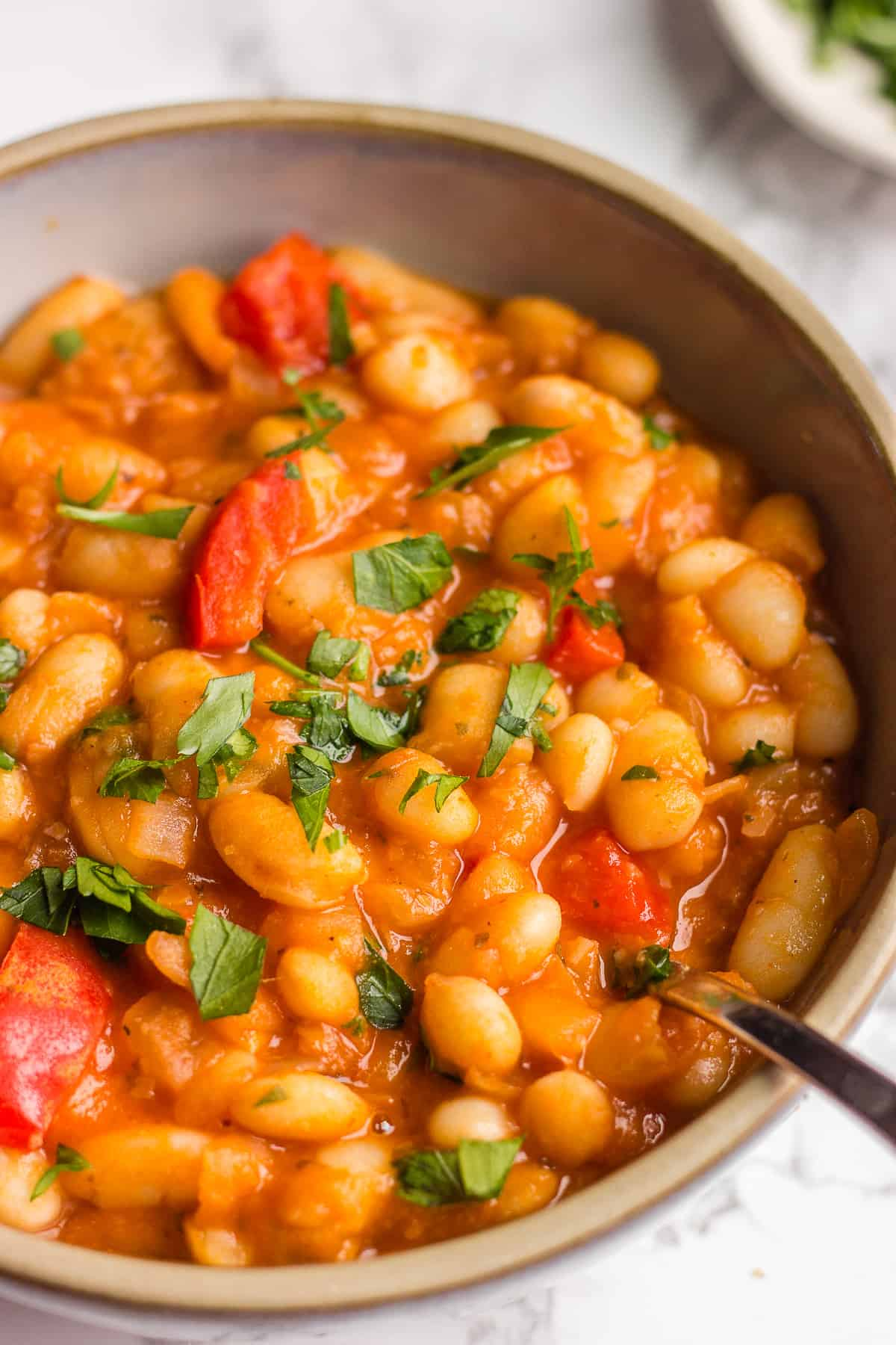 Beans cooked with tomato juice and spices in a grey bowl on a white background