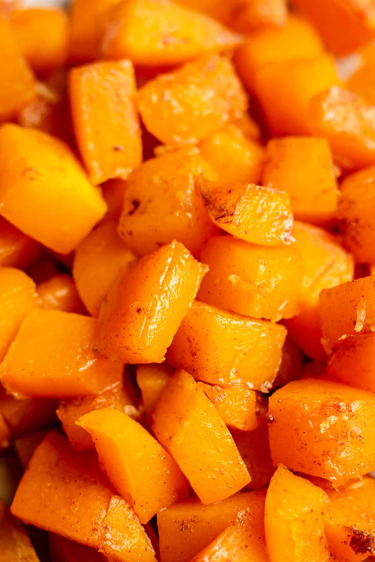 Upclose photo of candied butternut squash